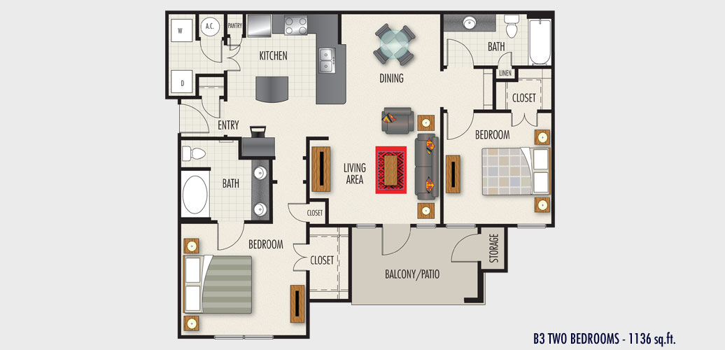 1,136 sq. ft. to 1,260 sq. ft. B3 floor plan