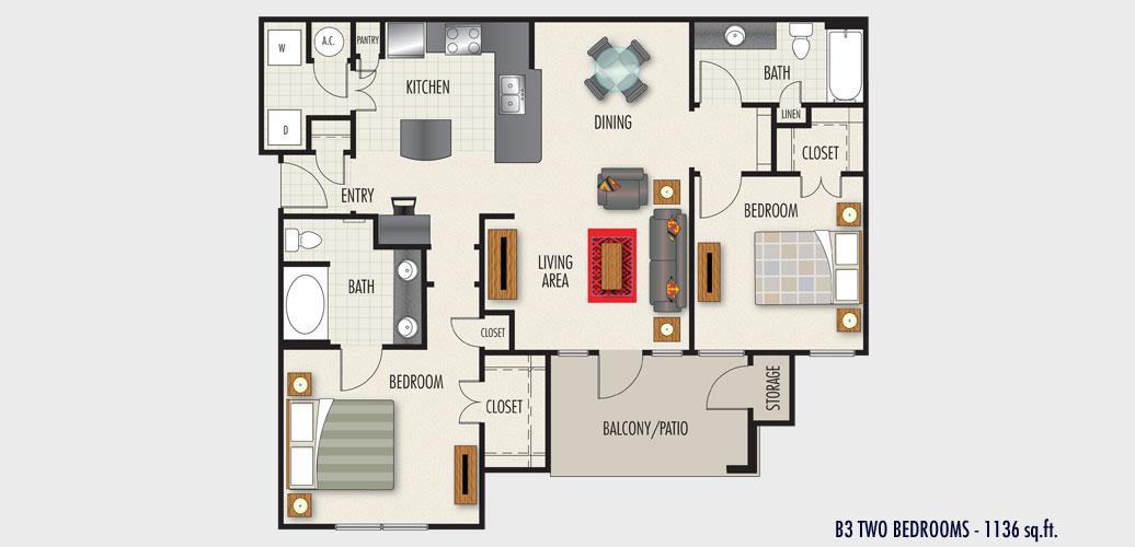 1,136 sq. ft. to 1,260 sq. ft. Berlin floor plan