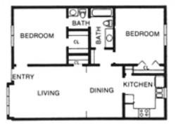 965 sq. ft. E floor plan