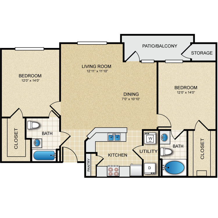 1,118 sq. ft. Memorial floor plan