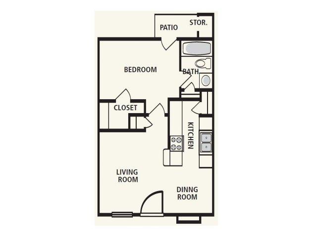 586 sq. ft. A1 floor plan