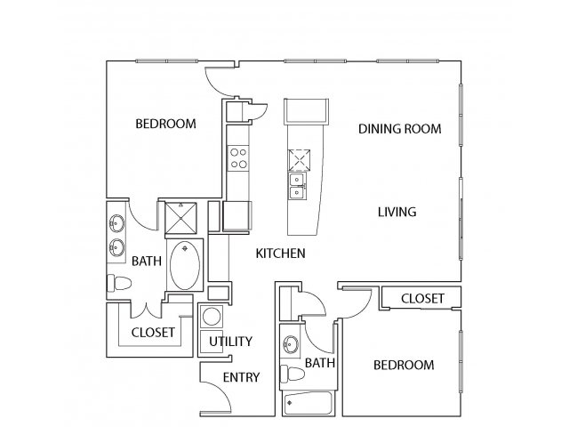 1,241 sq. ft. B10 floor plan