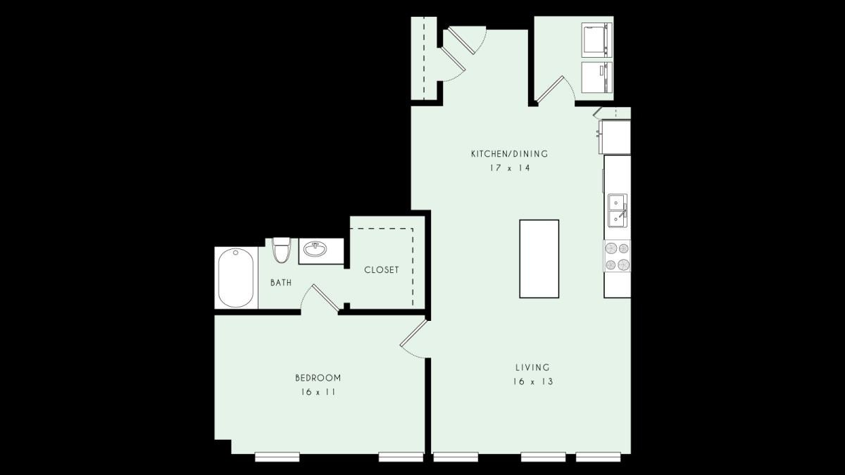 906 sq. ft. A21 MKT floor plan