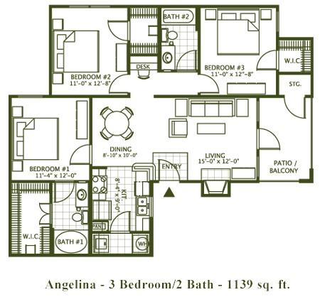 1,139 sq. ft. Angelina floor plan