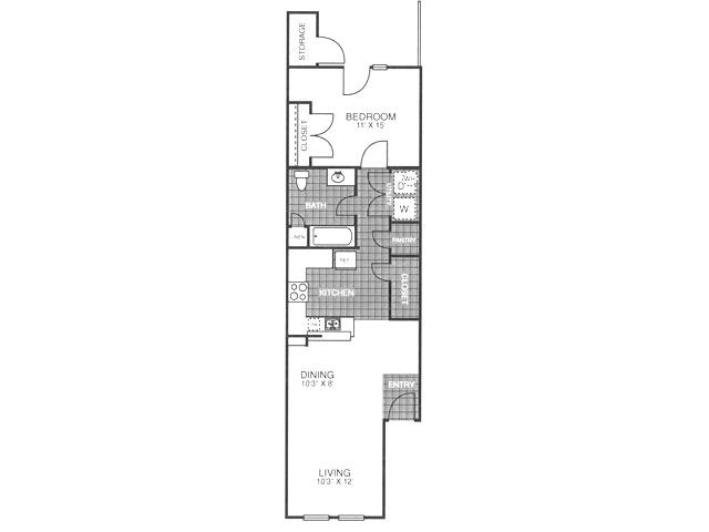 692 sq. ft. A2H/60 floor plan