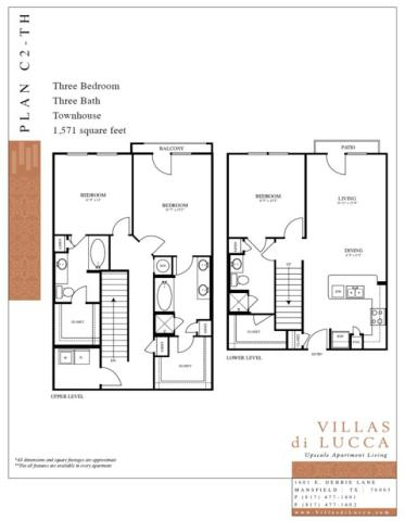 1,571 sq. ft. C2-TH floor plan