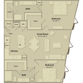1,356 sq. ft. D1 floor plan
