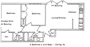 725 sq. ft. A floor plan