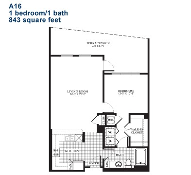 843 sq. ft. A16.1 floor plan