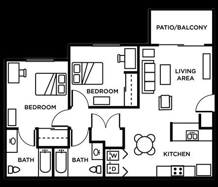 868 sq. ft. 2Bed 2Bath floor plan