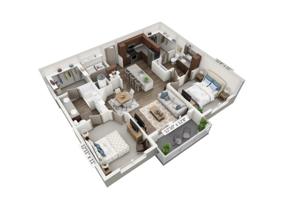 1,055 sq. ft. B1 floor plan