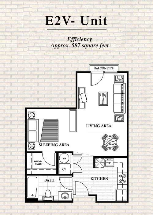 587 sq. ft. to 597 sq. ft. E2 floor plan
