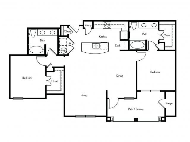 1,278 sq. ft. B4 floor plan