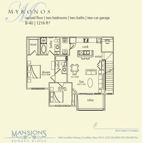1,216 sq. ft. Mykonos floor plan