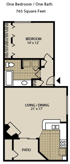 765 sq. ft. A2-A floor plan
