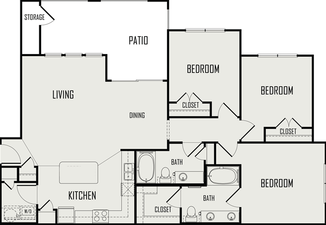 1,275 sq. ft. Trintiy floor plan