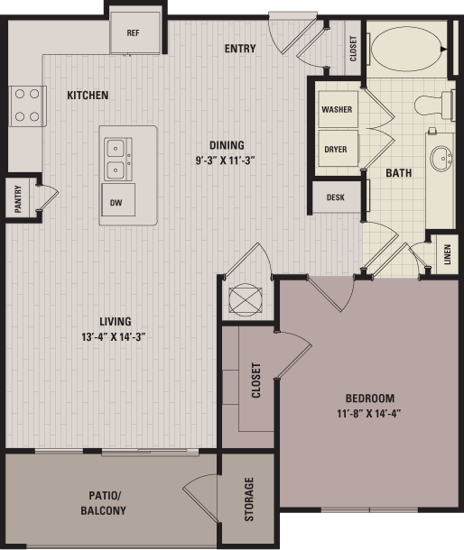 815 sq. ft. A3 floor plan
