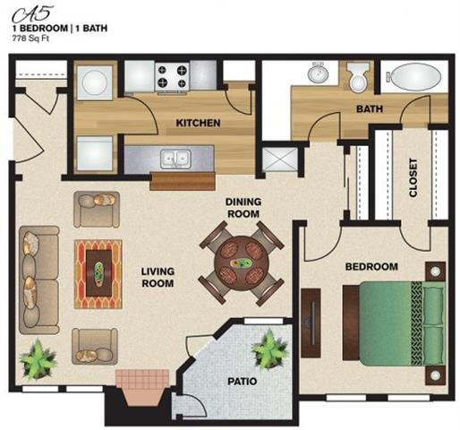 778 sq. ft. to 843 sq. ft. A5 floor plan