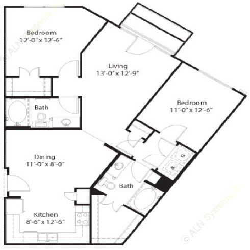 1,123 sq. ft. to 1,151 sq. ft. Grayson floor plan