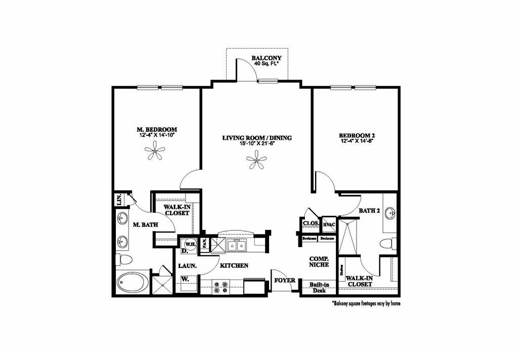 1,289 sq. ft. B2 floor plan