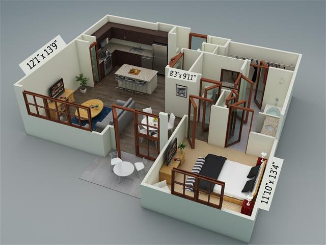870 sq. ft. A8 floor plan
