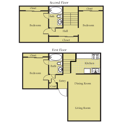 1,117 sq. ft. C floor plan