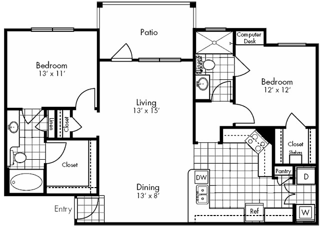 1,148 sq. ft. DALLAS floor plan