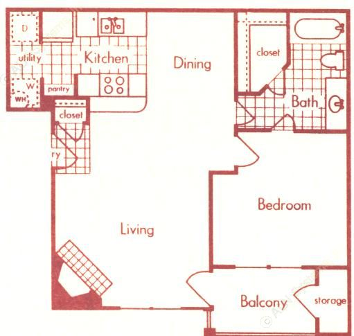 734 sq. ft. A-2 floor plan