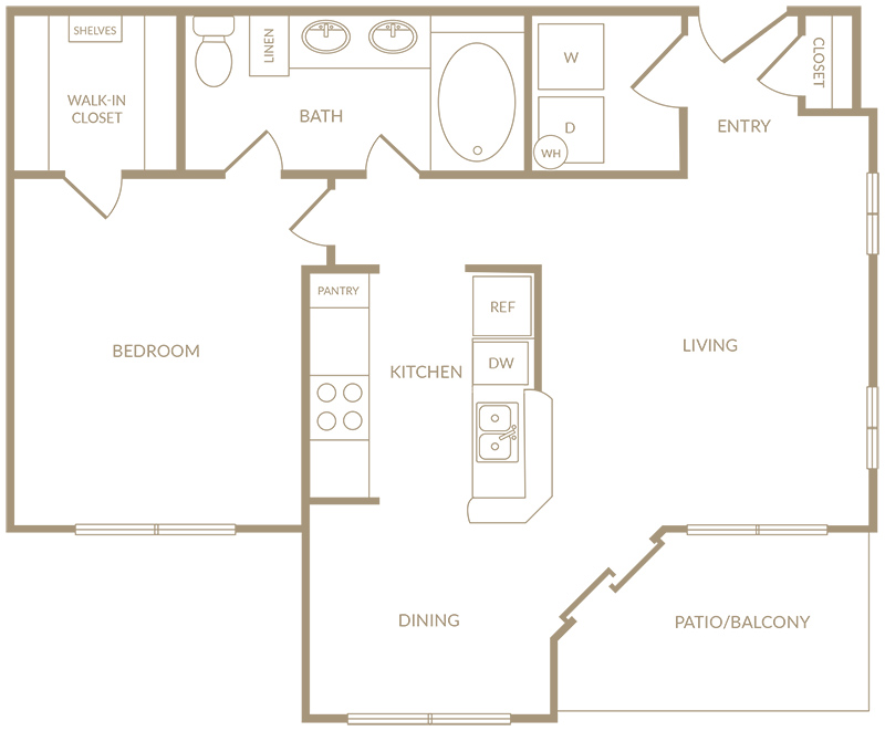 754 sq. ft. to 983 sq. ft. A3 floor plan
