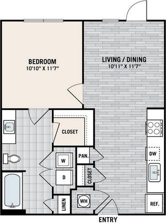 737 sq. ft. E3 floor plan