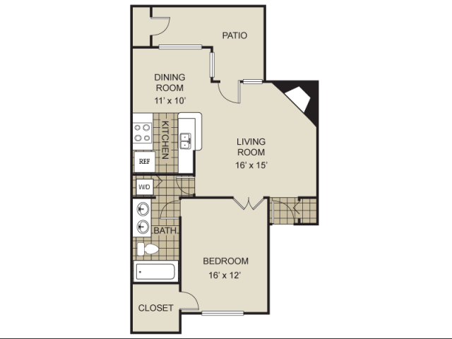 826 sq. ft. A3-D floor plan