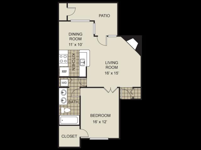 826 sq. ft. A3-D floor plan