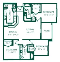 1,295 sq. ft. Royale/C1 floor plan