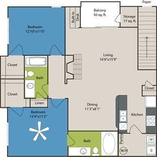 1,171 sq. ft. B5 floor plan