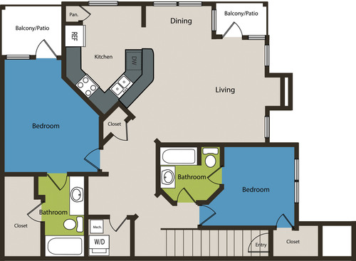 1,335 sq. ft. B2U floor plan