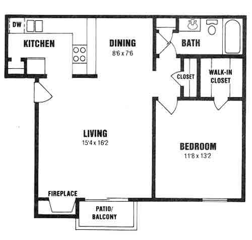 723 sq. ft. A-3 floor plan
