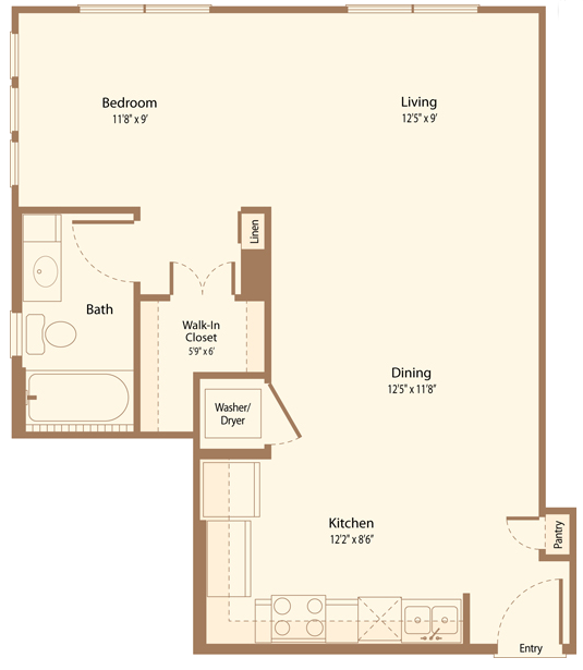 652 sq. ft. A1C floor plan