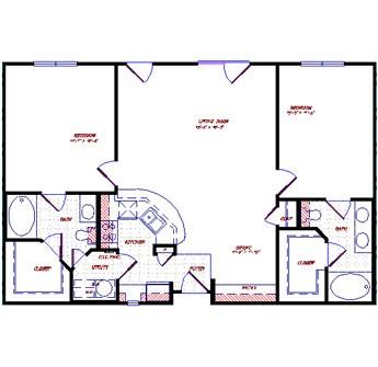 1,201 sq. ft. floor plan