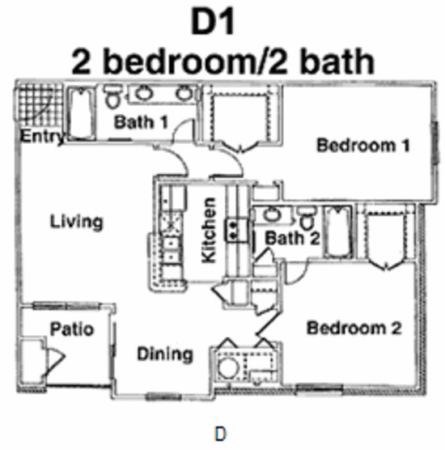 1,017 sq. ft. D floor plan