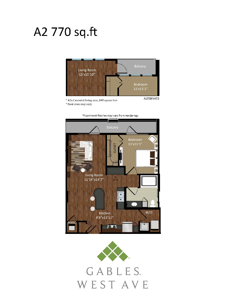 839 sq. ft. A2A floor plan