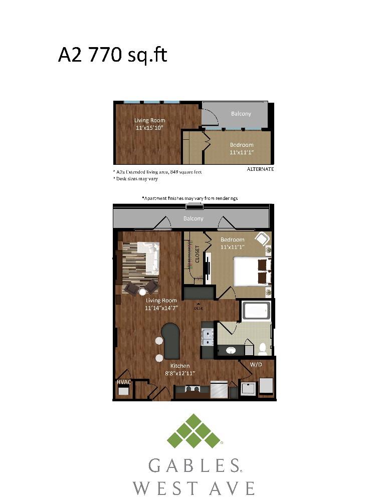 839 sq. ft. A2A floor plan