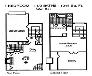1,046 sq. ft. Betony floor plan