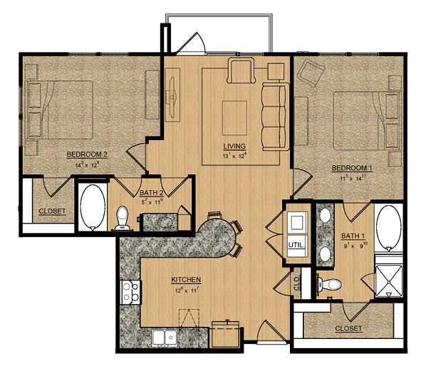 1,120 sq. ft. Gardneia floor plan