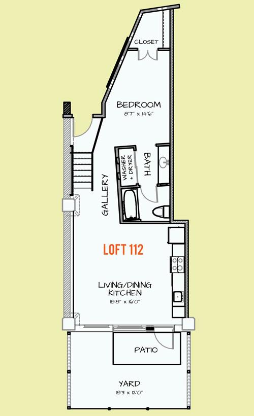 677 sq. ft. 312 floor plan