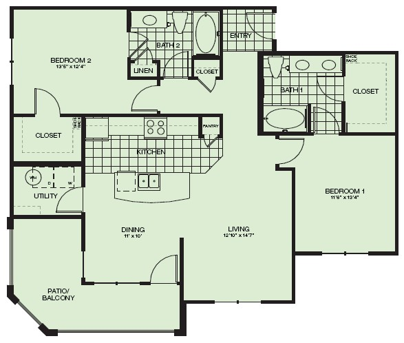 1,208 sq. ft. Valhalla floor plan