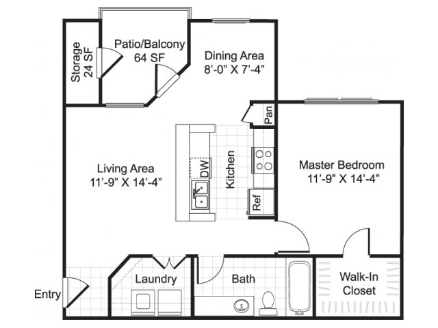 734 sq. ft. A2 floor plan