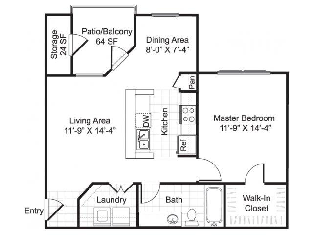 734 sq. ft. ROYAL floor plan