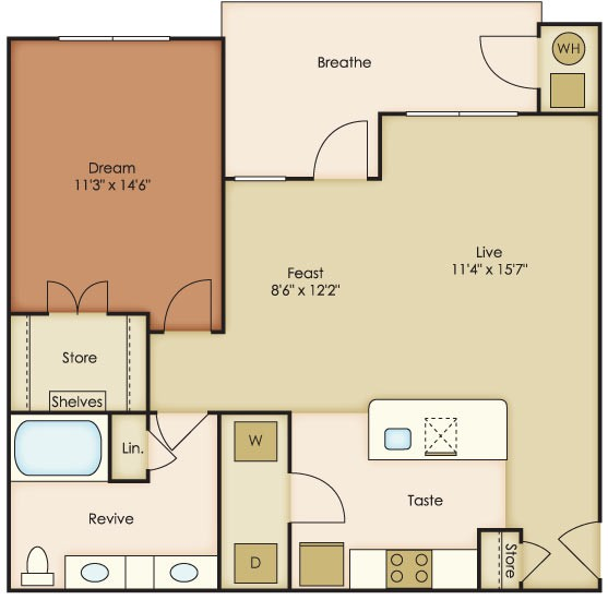 839 sq. ft. Luna floor plan