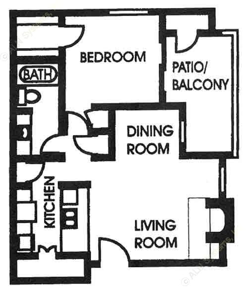 667 sq. ft. A3 floor plan