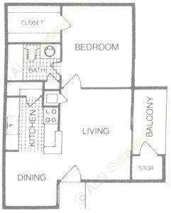 584 sq. ft. A floor plan